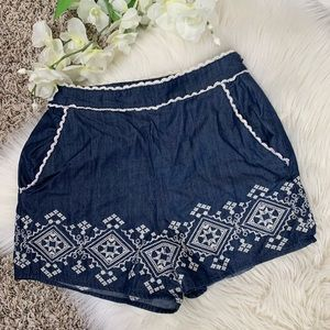 JOA Navy Blue Embroidered Shorts in XS